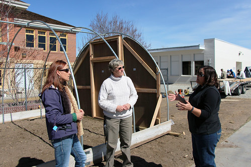 Lisa Maslach, school counselor; Judy Halterman, Veggies for Kids Program; and Staci Emm, with the Extension, discuss planting techniques and strategies at Yerington Elementary School. NRCS photo by Heather Emmons.
