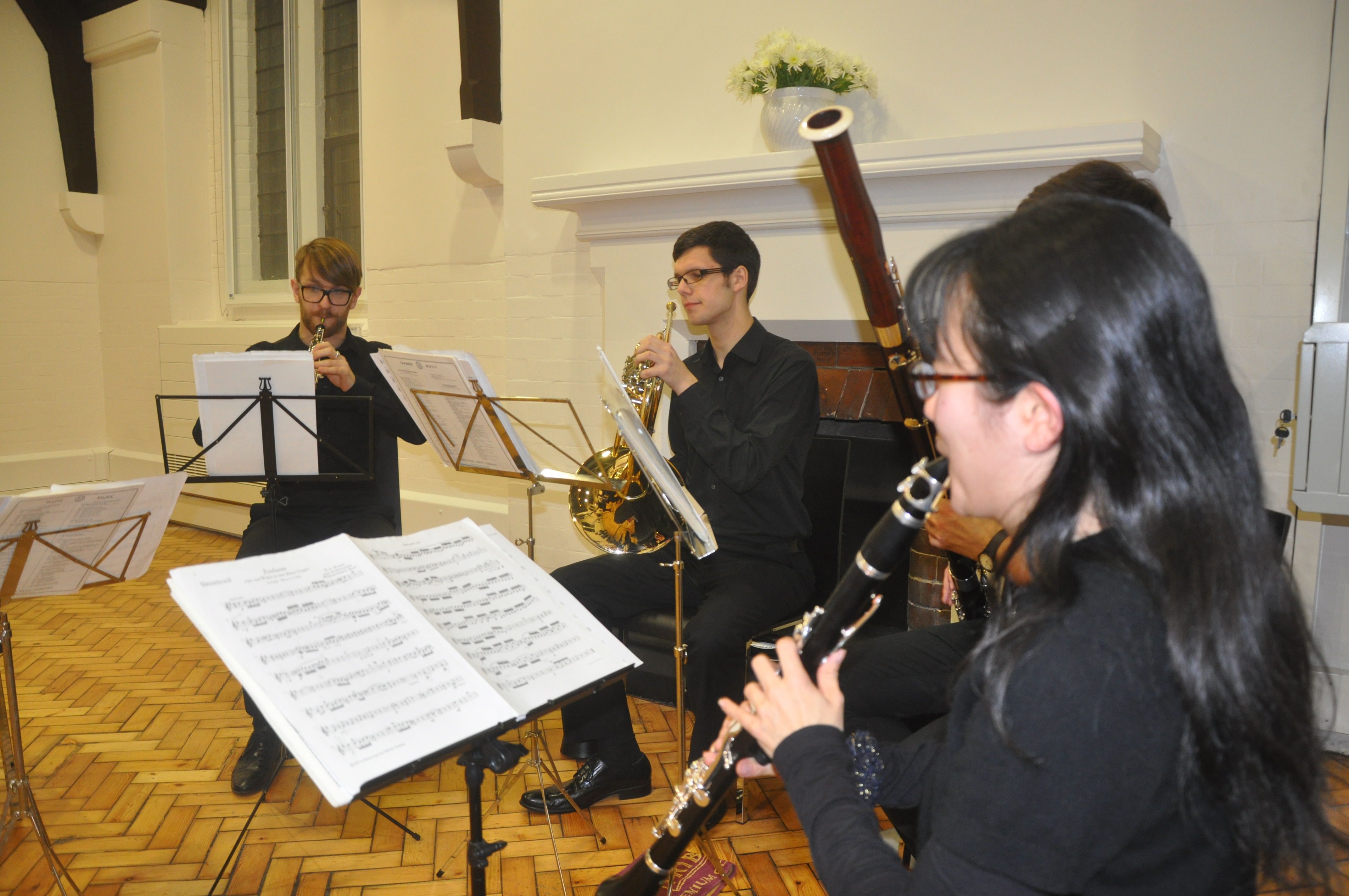 Musicians playing at the opening of the new parish centre of St James the Less, Pimlico