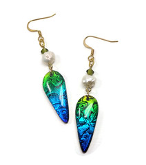 polymer clay Teardrop Freshwater Pearl Earrings