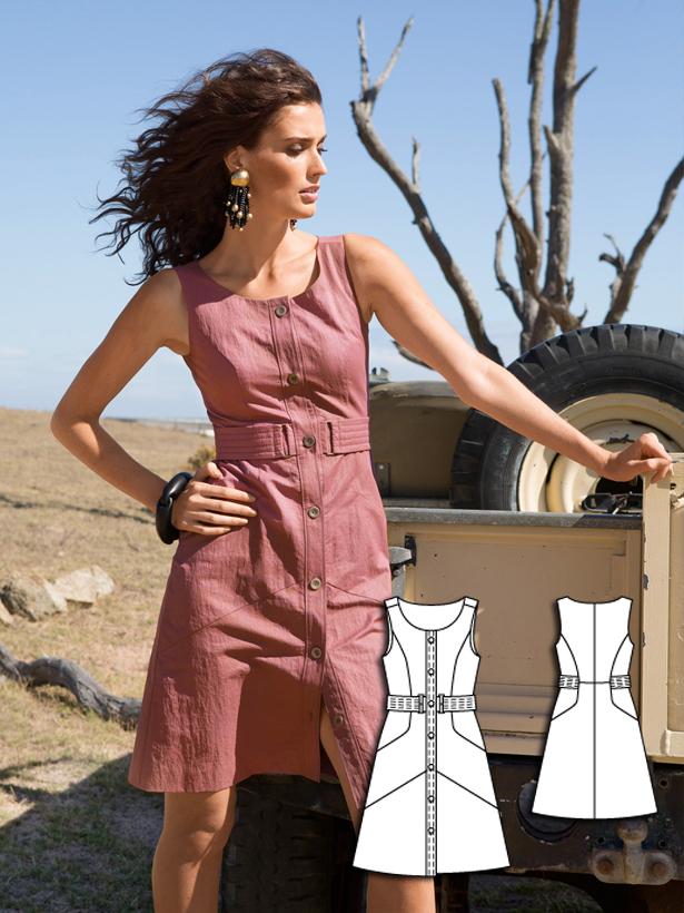 womens Aline dress sewing pattern 105A-062016-B