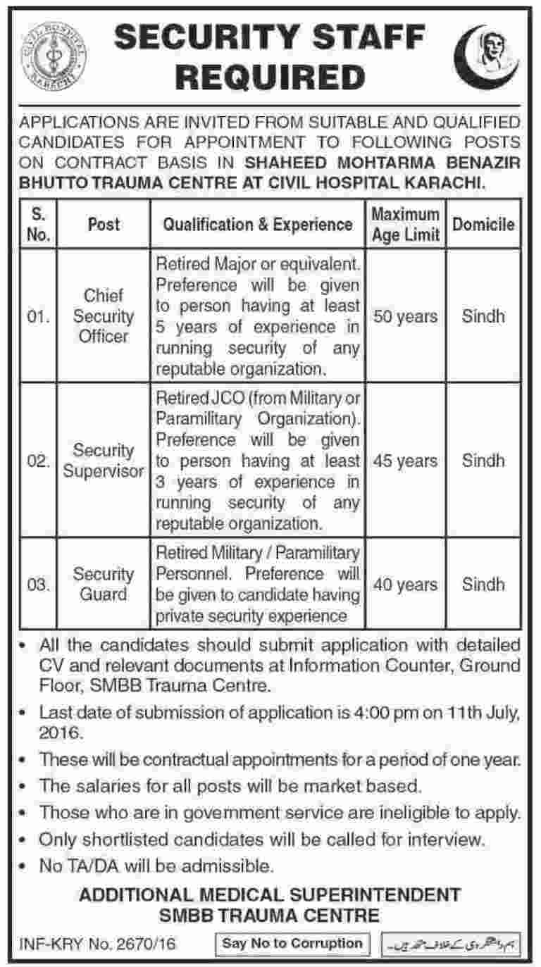 Civil Hospital Karachi Security Staff Required