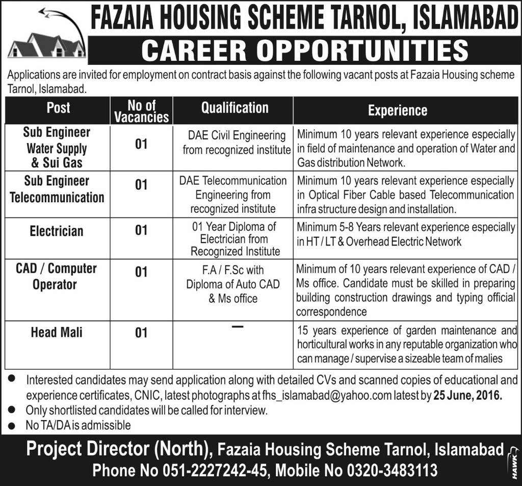 Fazia Housing Scheme Tarnol Islamabad Jobs