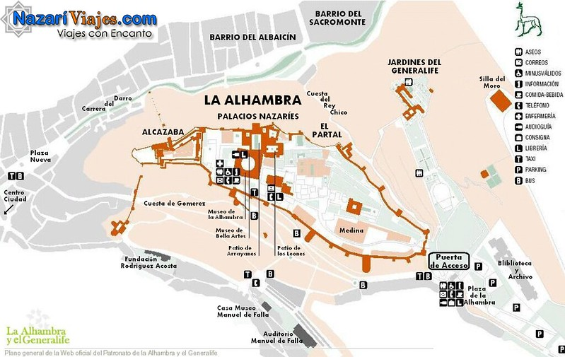 Mapa Turistico Alhambra e Generalife