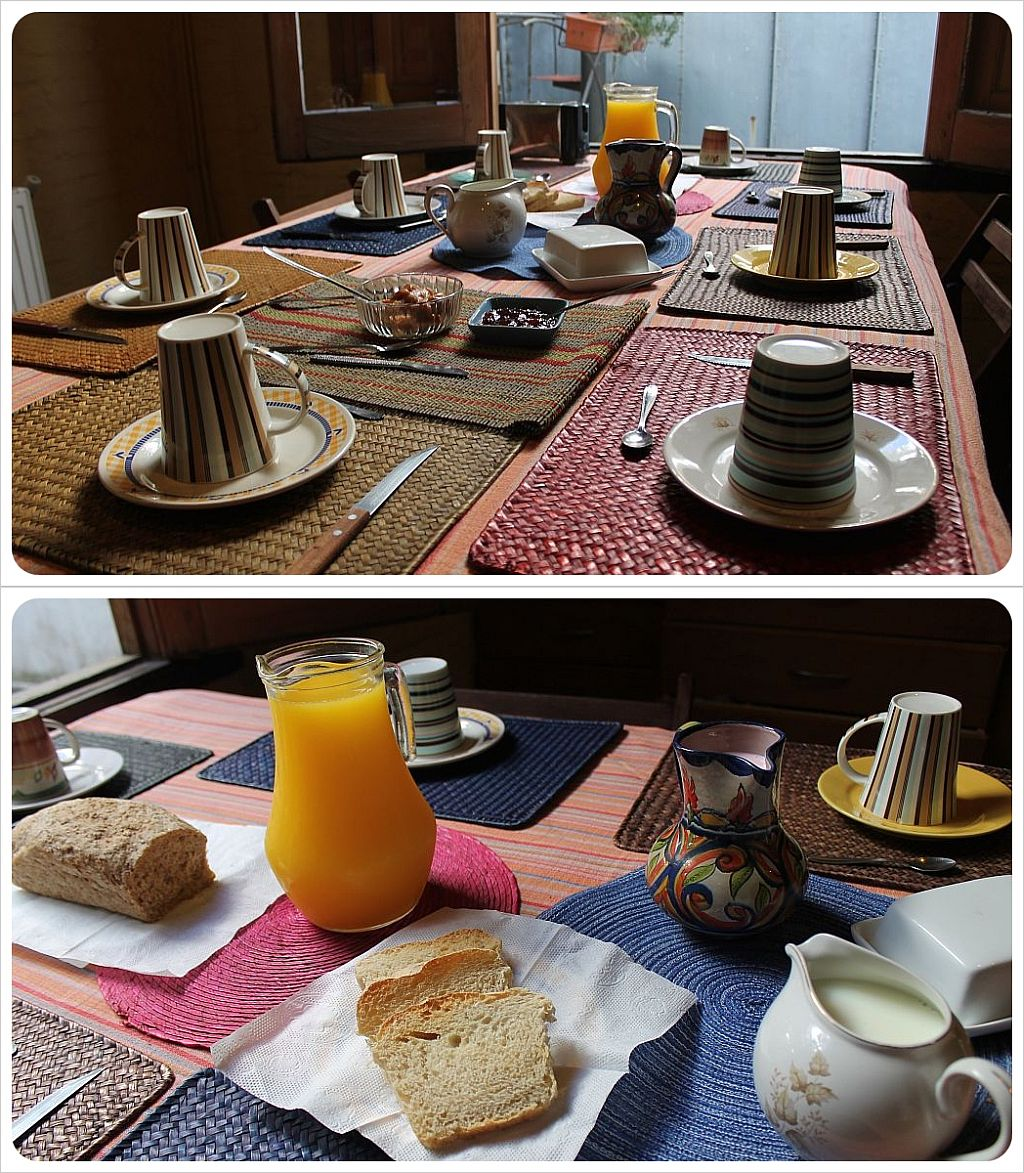posada al sur montevideo b&b breakfast table