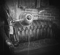 American Pickers leather couch BW