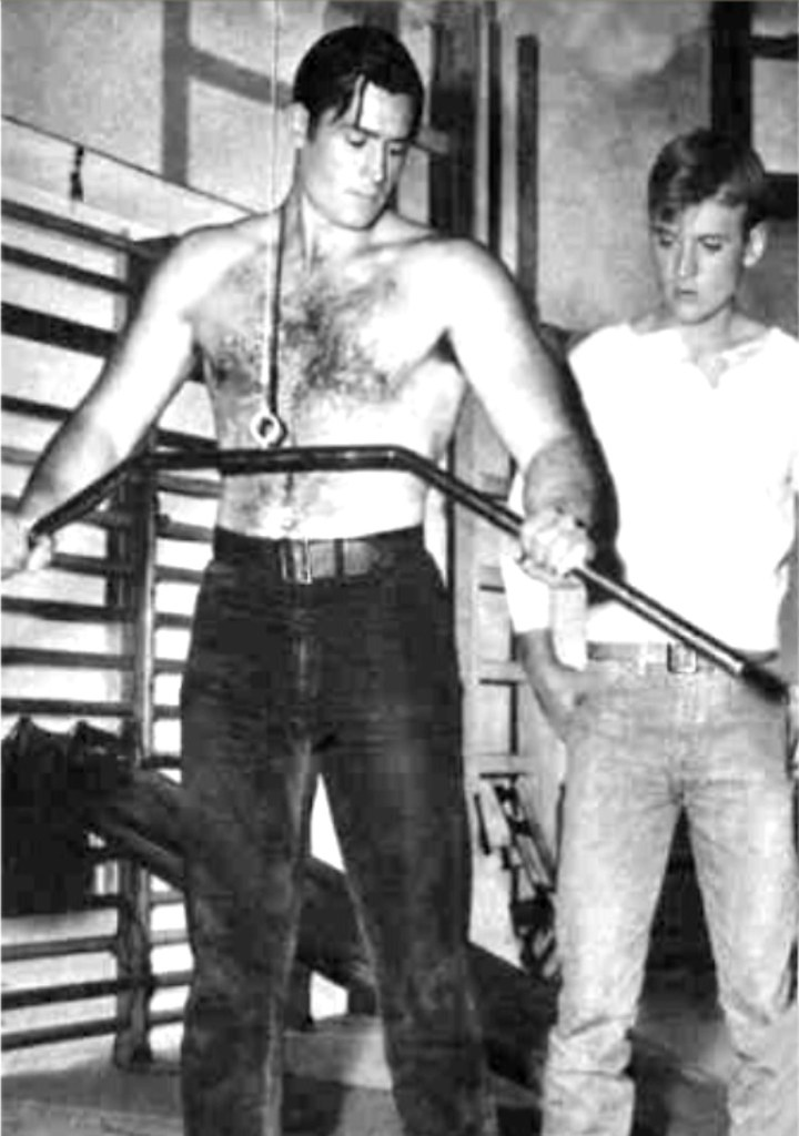 Clint Walker and Will Hutchins, 1957 at Warner Bros Gym