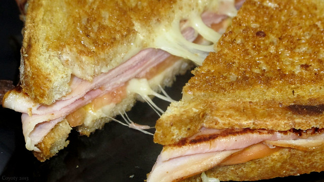 Ham, tomato, and mozzarella melt