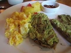fried food(0.0), produce(0.0), meal(1.0), breakfast(1.0), food(1.0), dish(1.0), guacamole(1.0), scrambled eggs(1.0), cuisine(1.0),