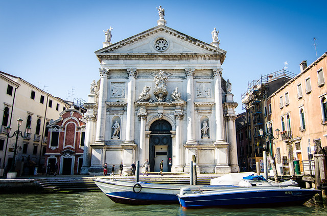 A Grand Canal view of the church San Stae in Venice's sestiere Santa Croce.