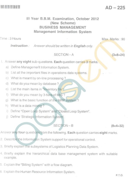 Bangalore University Question Paper Oct 2012 III Year BBM - Business Management Information System