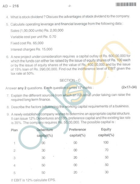 Bangalore University Question Paper Oct 2012 II Year BBM - Business Management Business Finance (Paper IV)