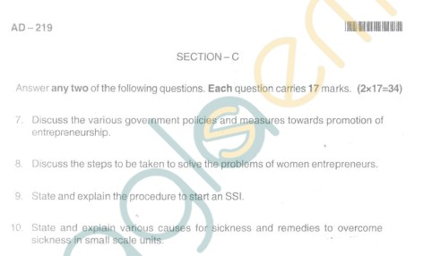 Bangalore University Question Paper Oct 2012 II Year BBM - Business Management Paper VII Entrepreneurship and Small Industry