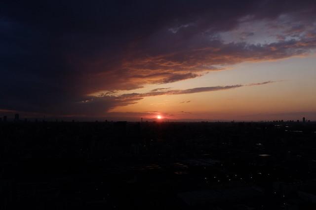 Sun setting over Tokyo