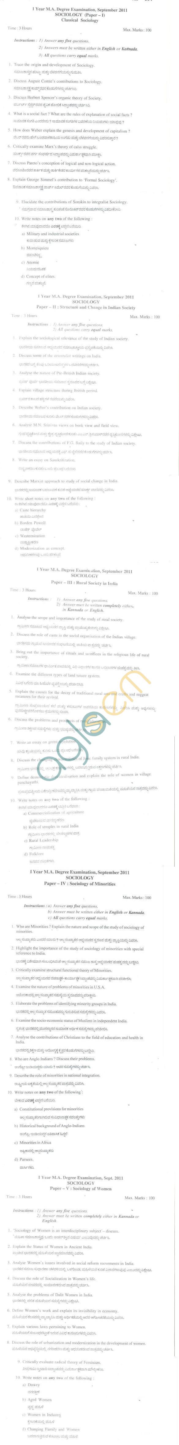 Bangalore University Question Paper September 2011 I Year M.A. Degree Examination - Sociology