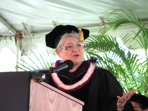 <p>University of Hawaii President M.R.C. Greenwood speaking to new graduates at the University of Hawaii-West Oahu commencement ceremony on May 4, 2013.</p>
