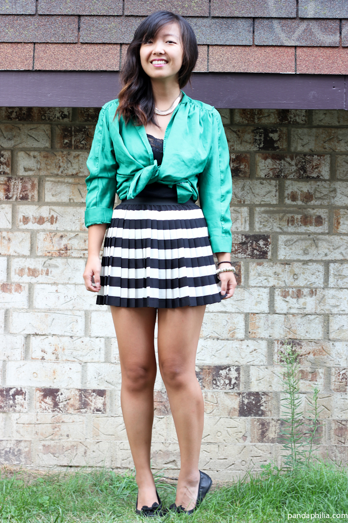 green satin tie top, striped pleated mini skirt