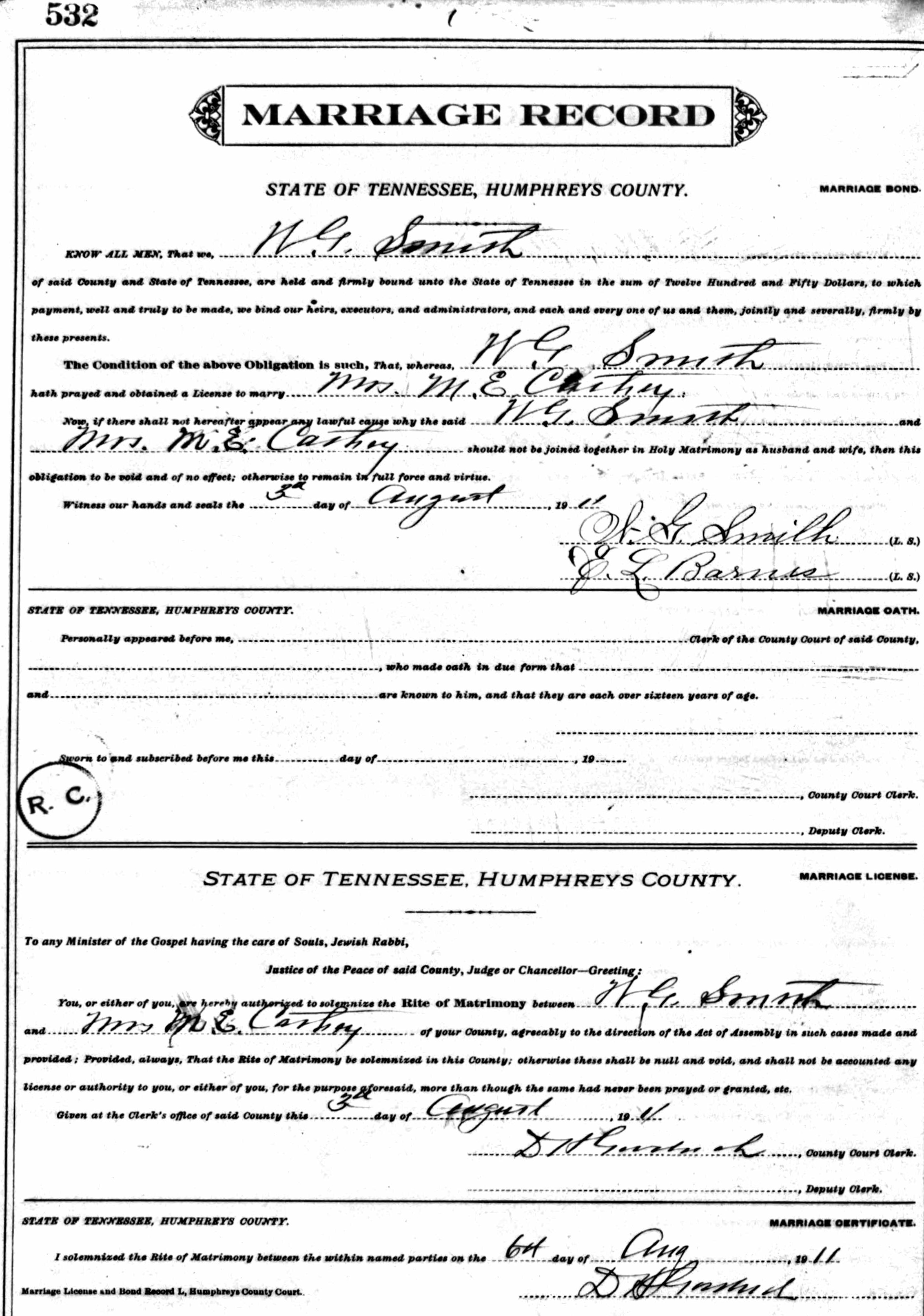 "Margaret Elizabeth ""Lizzie"" Summers and William Green Smith Marriage"