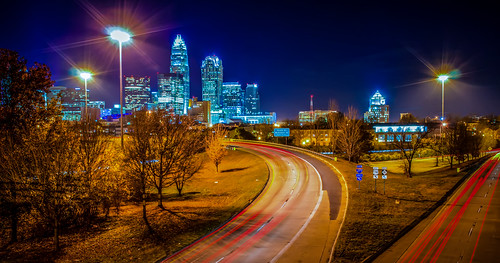 Charlotte City Skyline night scene by DigiDreamGrafix.com