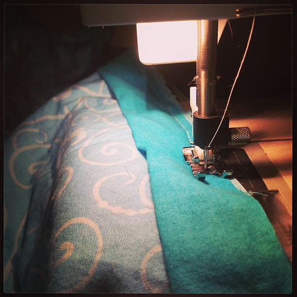 Sewing on my first handmade binding! #soclose