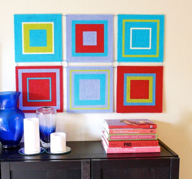How to Make a Modern Wall Hanging with Plastic Canvas