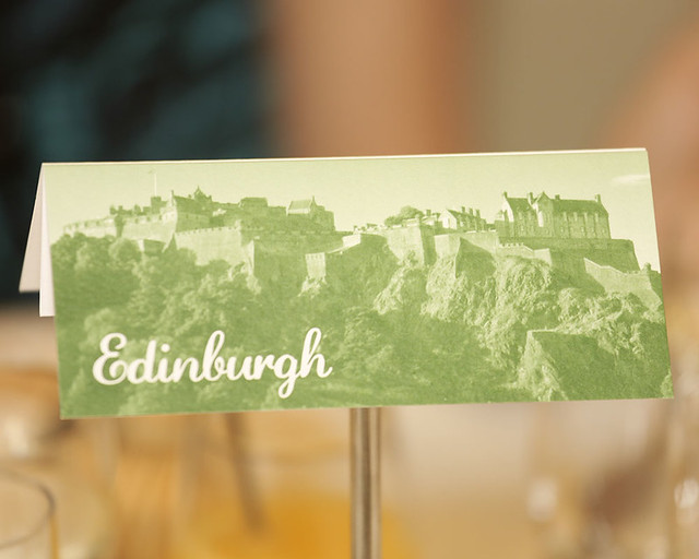 Wedding stationery, table card with Scottish castle theme