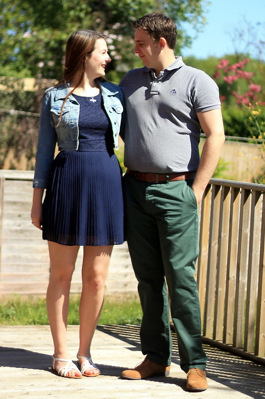 His and hers, OOTD, outfit of the day, men's polo shirt, green chinos, suede brogues, denim jacket, lace pleated dress, sandals