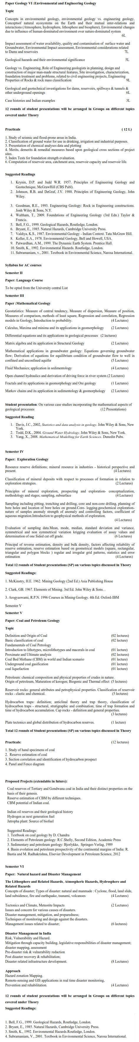 DU DC I, DC II and Applied Course Syllabus - Geology