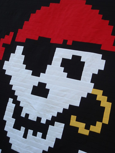 Jolly Roger Pirate quilt top - strip pieced