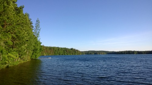 blue summer sky lake green forest finland landscape clean clear merkjärvi nokialumia925