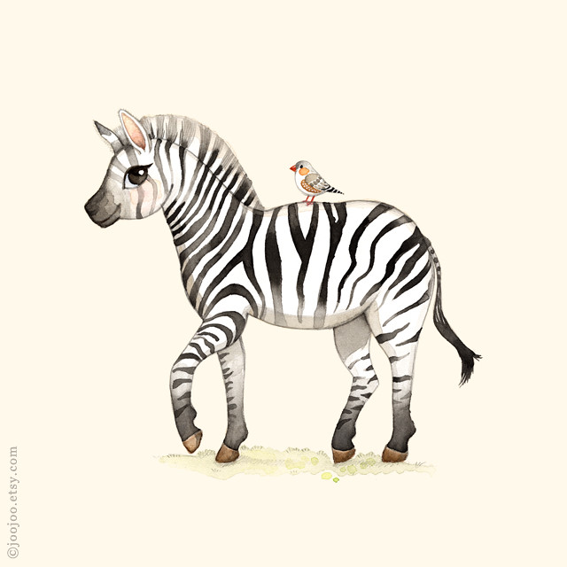 Zebra watercolor painting