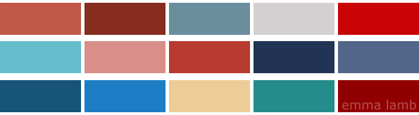 colour palette : brick red and indigo - curated by Emma Lamb
