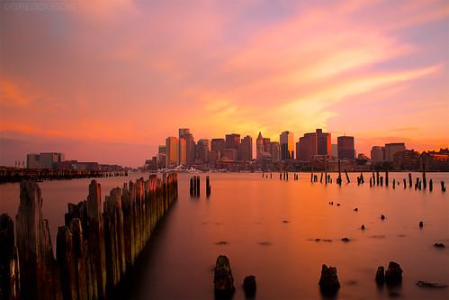 Boston Skyline with Orange Sunset, Carlton's Wharf East Boston, B+W 3.0ND 110 by Greg DuBois Photography