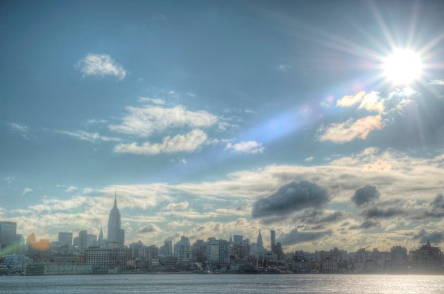 A sunflare as seen over Manhattan in New York City from Hoboken, New Jersey HDR
