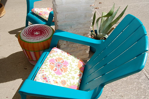 This Summer I Picked Up Several Fun Pool And Patio Items At Tuesday Morning.  These Chair Cushions For Example. I Love The Bright Colors.