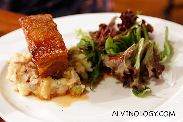 Crispy Pork Belly (S$18) - slab of pork belly marinated in chef's secret recipe, served with mash and salad