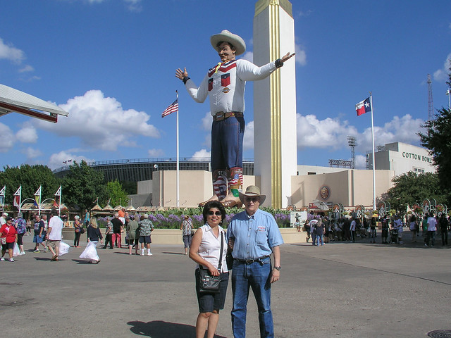The NEW Big Tex with Angie and I at the 2013 State Fair of Texas