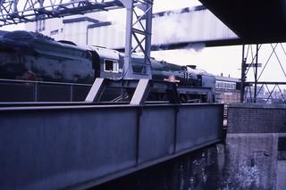 SR MN 4-6-2 35028 'Clan Line', Shrewsbury, The Mayflower train, May 1980 Slides174