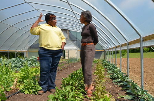 Derinda Smith (left), NRCS district conservationist in Marianna, Ark. and Mildred Griggs, of Marianna, visit about resource conservation practices for optimizing vegetable production under a high tunnel.
