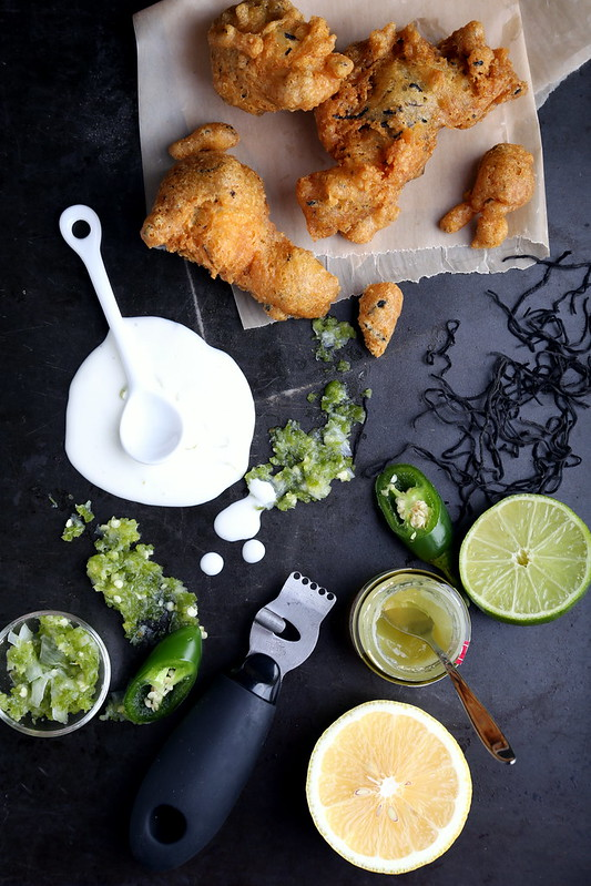 Seaweed-Tofu Beignets with Jalapeño and Shikuwasa Jam Paste