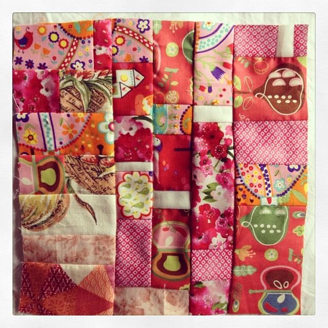 Pink quilt block 3