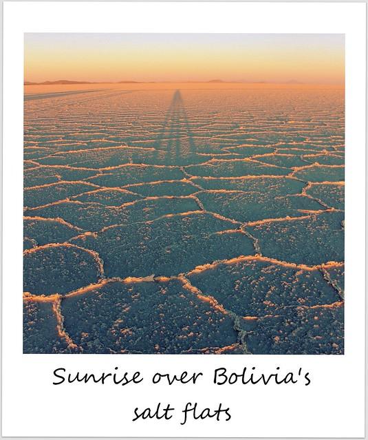 polaroid bolivia uyuni salt flats sunrise