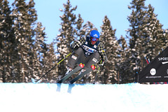 Chris Del Bosco takes flight in training at the FIS Ski Cross World Cup in Nakiska, CAN