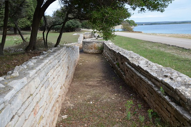The ruins of one of the Portico facing the bay, Roman Villa in the Bay of Verige, Brijuni Islands, Croatia