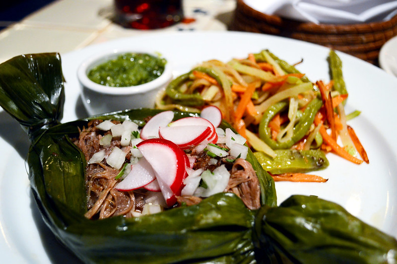 Shredded Lamb Shoulder grilled in banana leaf