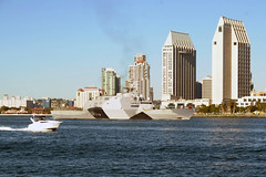 USS Freedom (LCS 1) returns to San Diego Dec. 23 following completion of its historic maiden deployment to Southeast Asia. (U.S. Navy photo by Senior Chief Mass Communication Specialist Donnie W. Ryan)