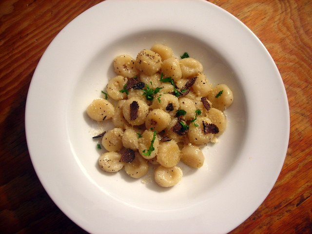 Potato gnocchi, with Parmigiano-Reggiano cheese, unsalted butter and black truffle