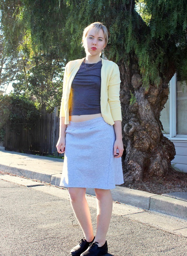 lemon yellow cardigan, cropped grey t-shirt, light grey a-line skirt - OOTD 1/14/2014