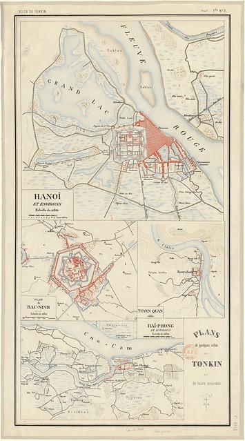 Bản đồ một vài thành phố ở Bắc Kỳ và vùng phụ cận của chúng (Hà Nội, Hải Phòng, Bắc Ninh, Tuyên Quang)