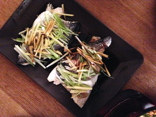 Steamed sea bream with ginger and spring onion