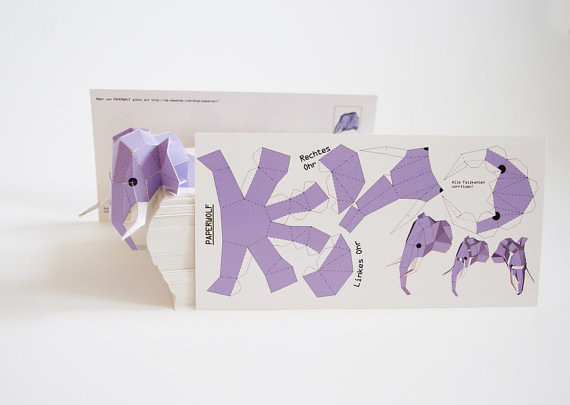3d mini elephant paper sculpture template a photo on
